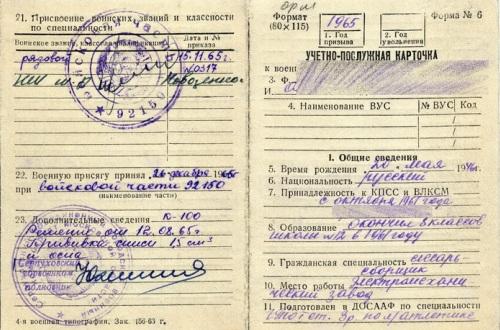 Учетно-послужная карточка к военному билету