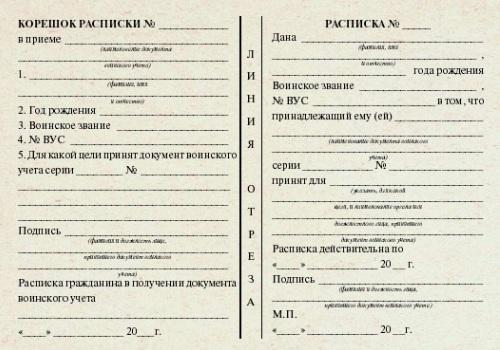 Образец заполнения корешка расписки в приеме военного билета