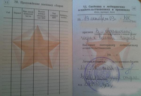 Записи в военном билете