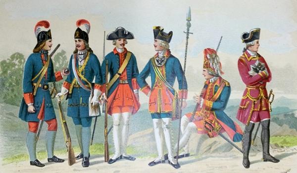Командир солдатами петровских времен